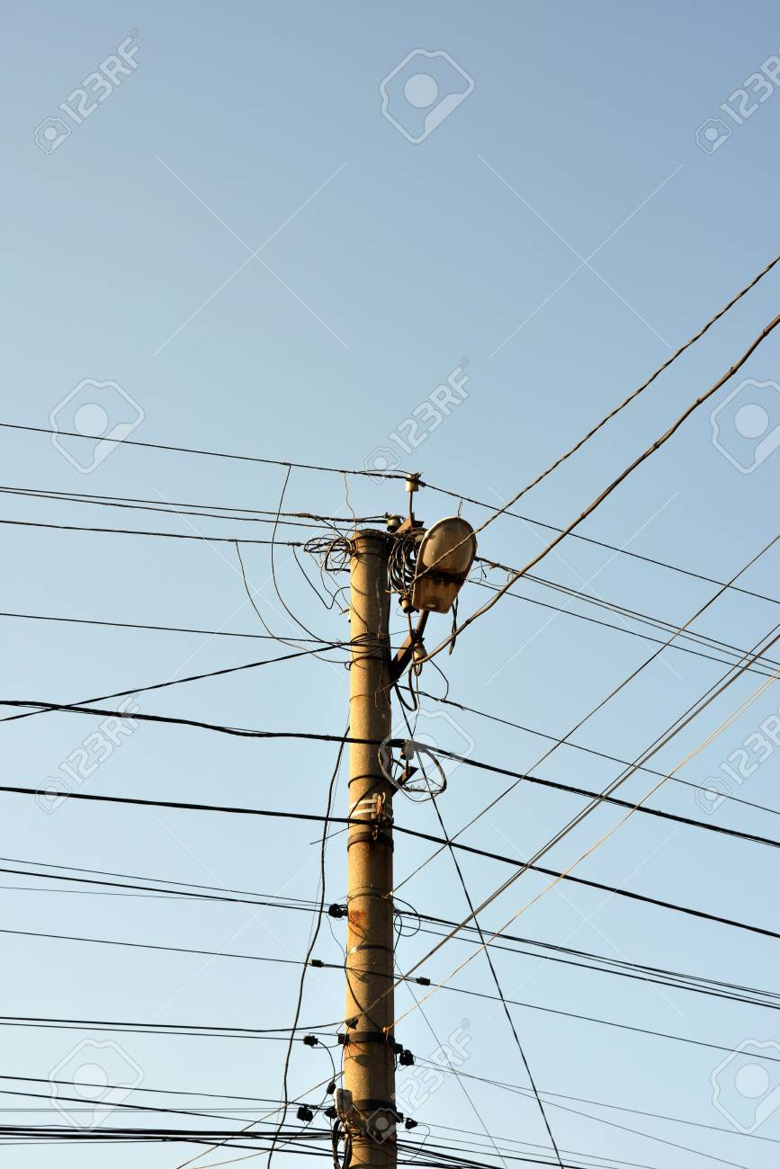 The Post Is Electric With Wires And Lamps On The Street For ...