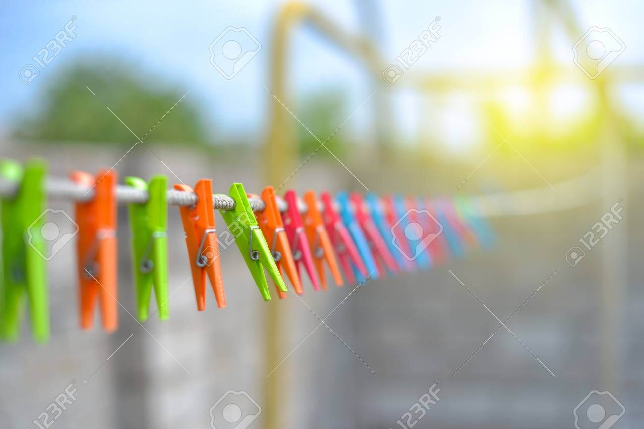 Color Clothespins Hang On The Clothesline Laundry Hook Colorful