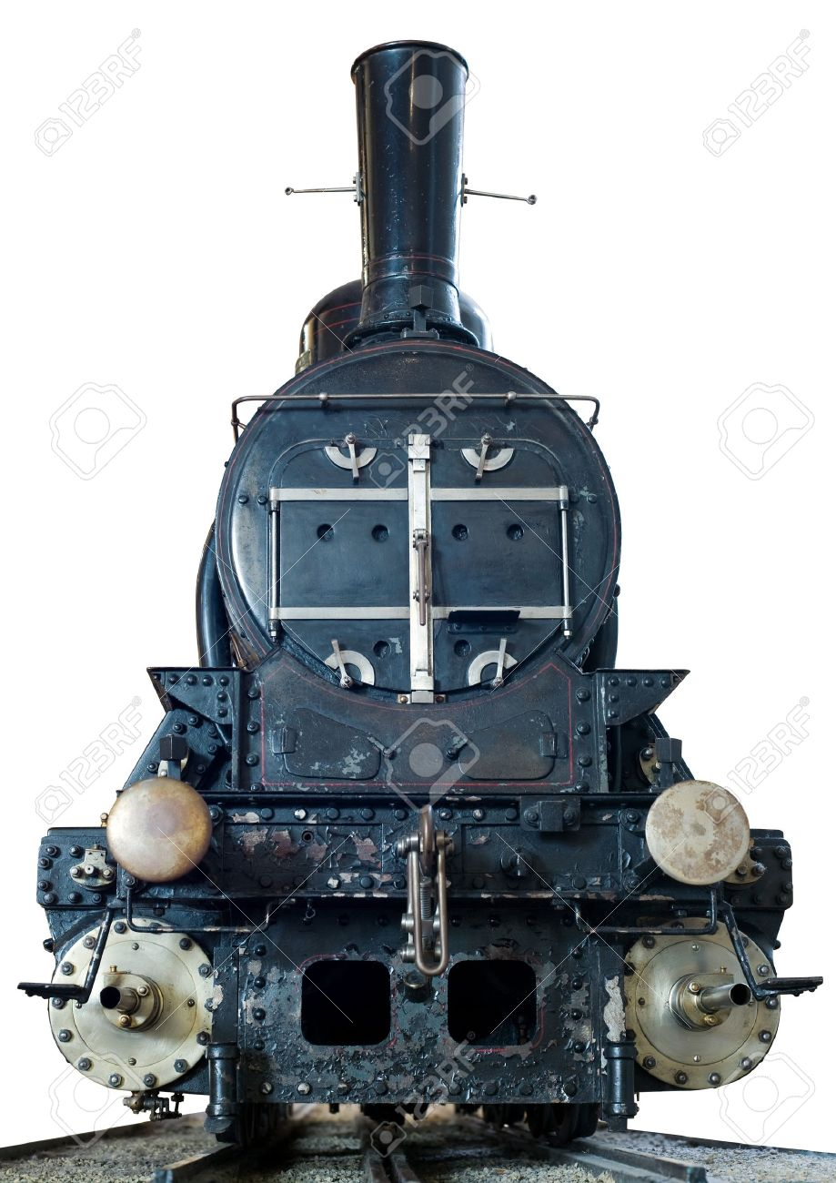 Front View Of A Realistic Model Steam Engine On White Stock Photo