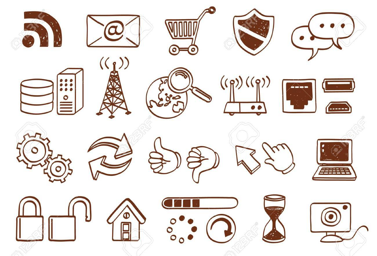 internet related icon set Stock Vector - 9934614
