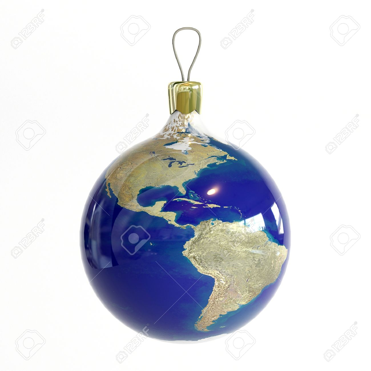Christmas Ball With Map Of Planet Earth Stock Photo, Picture And ...
