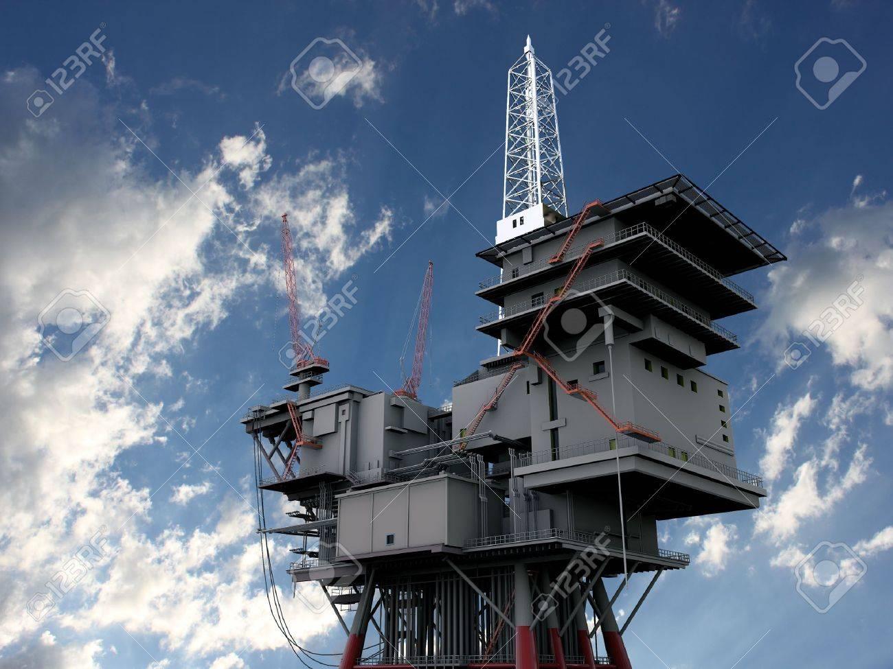 3D oil platform against the blue skies Stock Photo - 9881109
