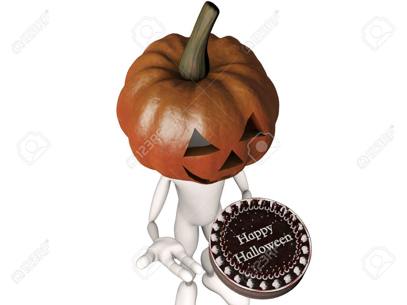 pumpkin man with a big cake say happy halloween stock photo 10747007 - Pictures That Say Happy Halloween