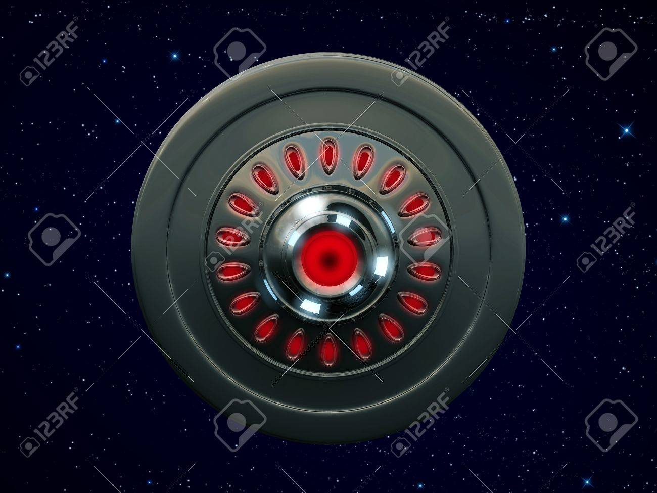 ufo bottom view flying in the sky Stock Photo - 13624679