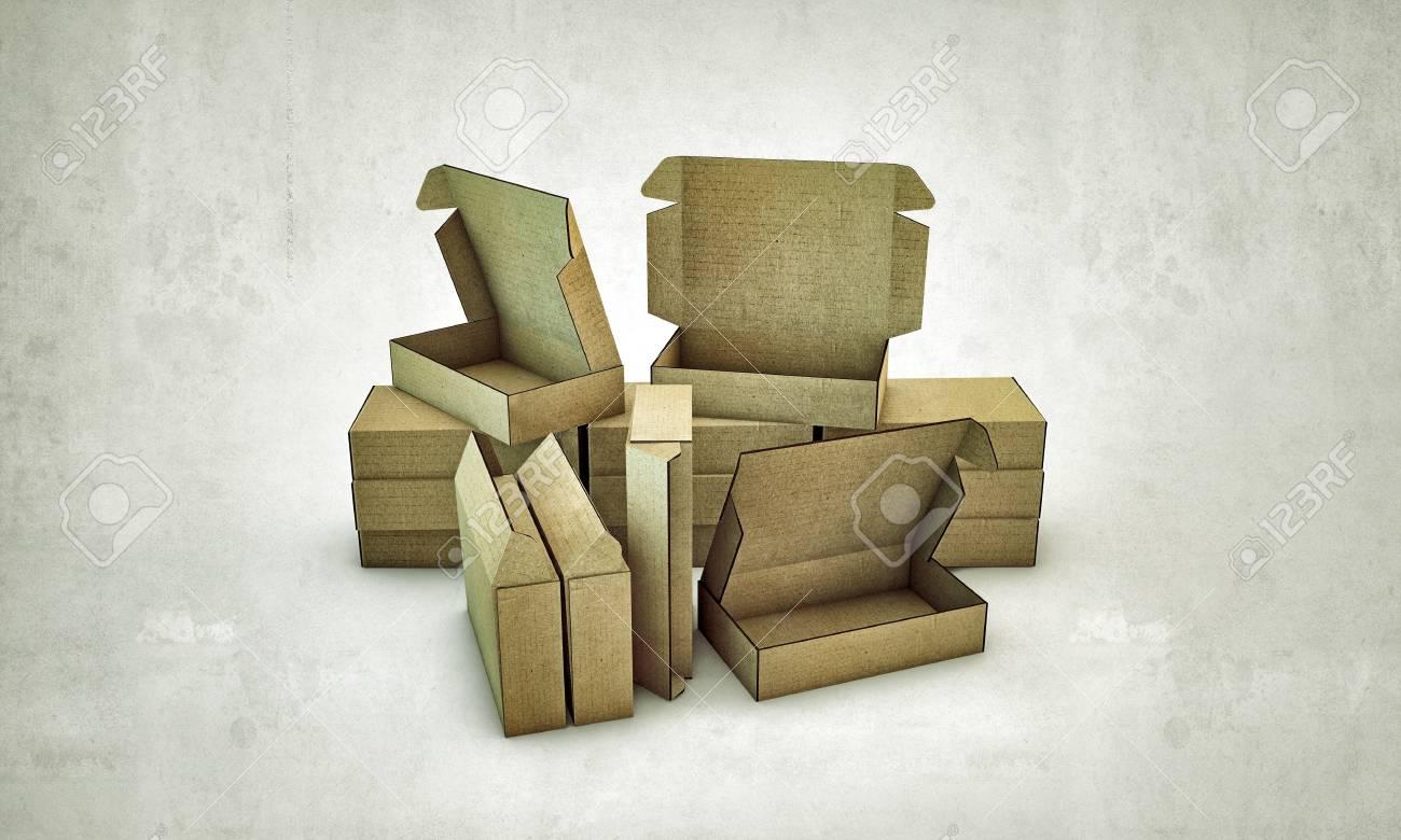cardboard boxes isolated on white background Stock Photo - 13980945
