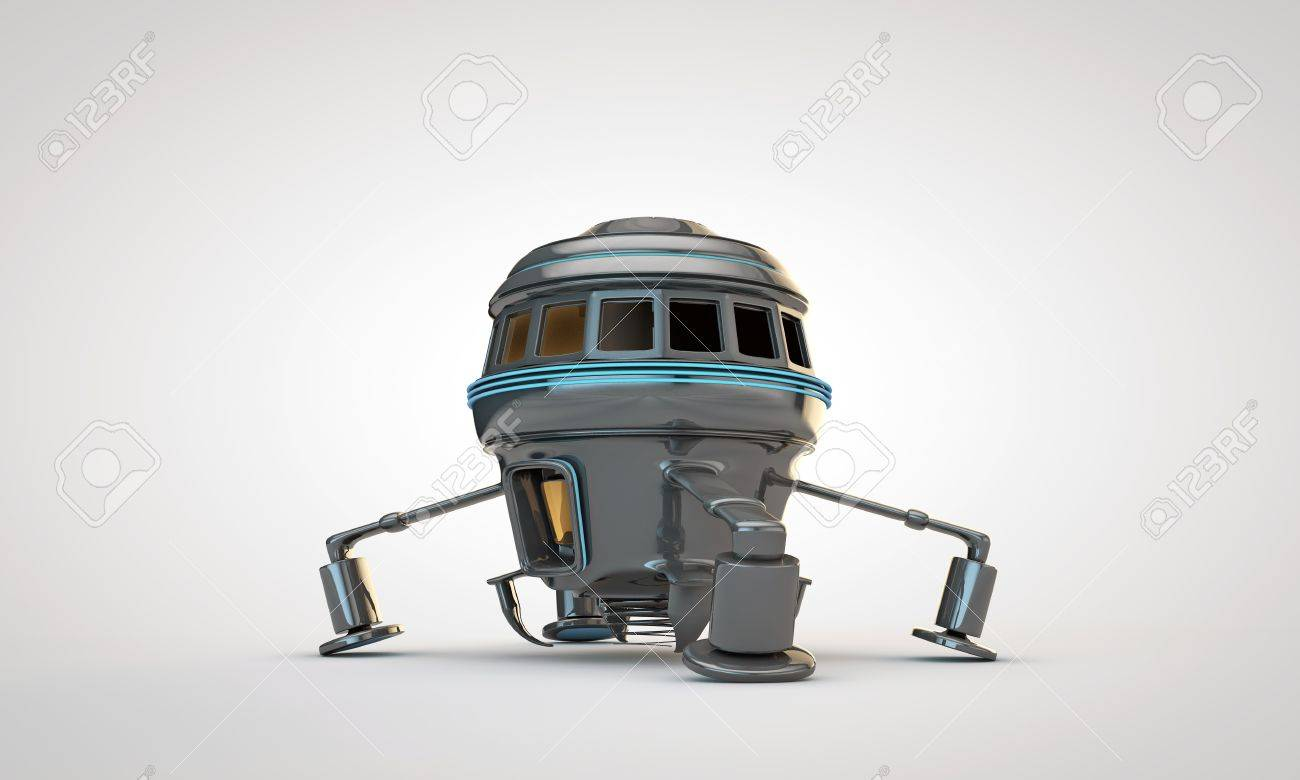 metal spaceship isolated on white background Stock Photo - 15217258
