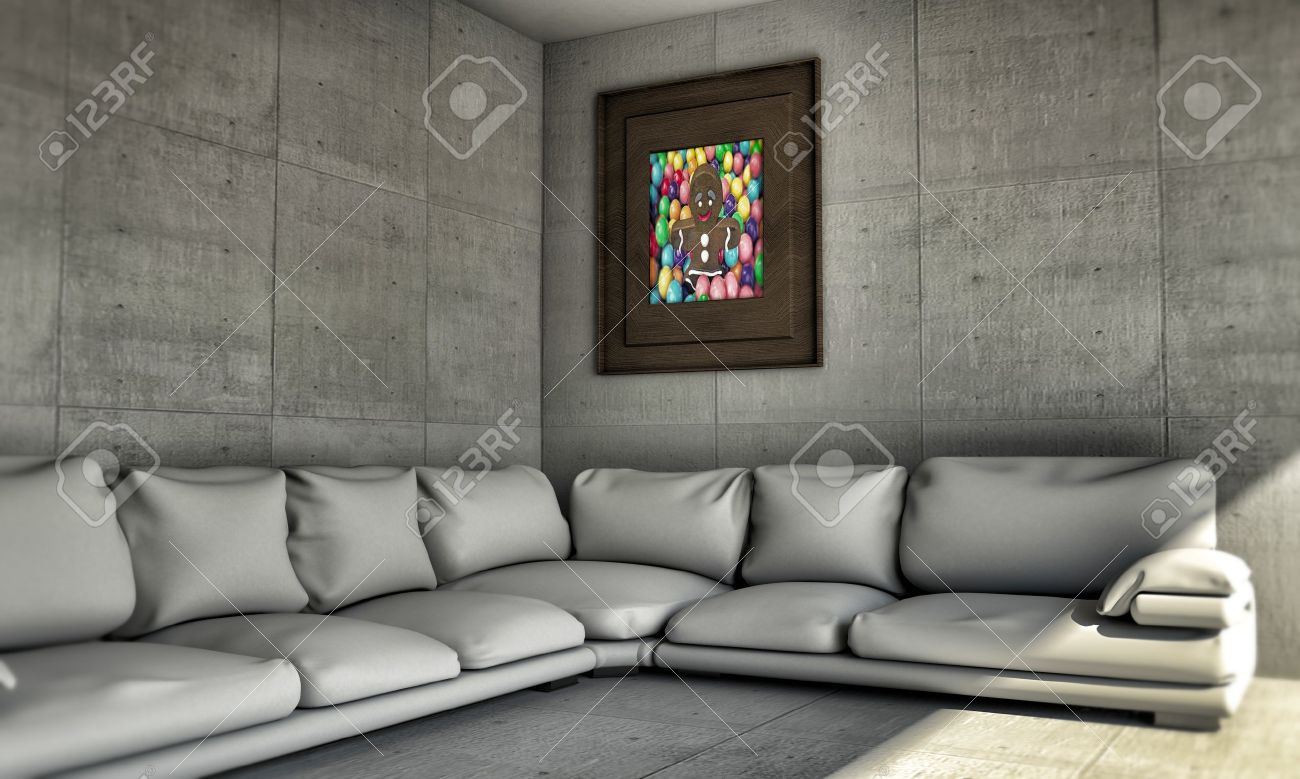 Stock Photo   White Sofa In Concrete Room With A Nice Ginger Bread Canvas