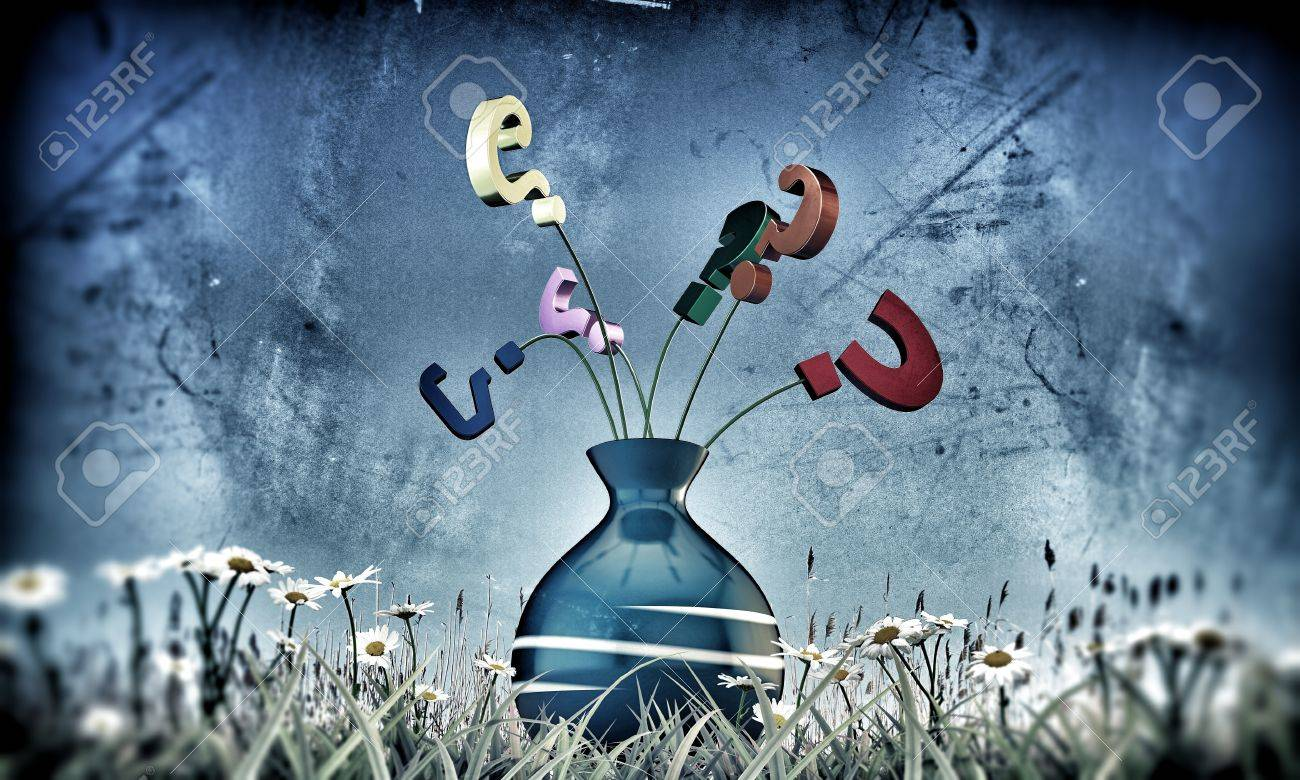 question mark in a vase on green grass Stock Photo - 15982937