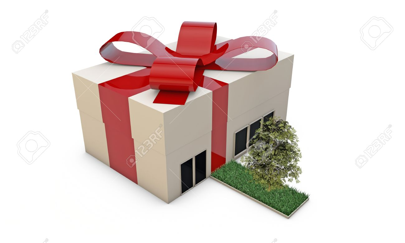 gift house with red ribbon isolated on white background Stock Photo - 16398586