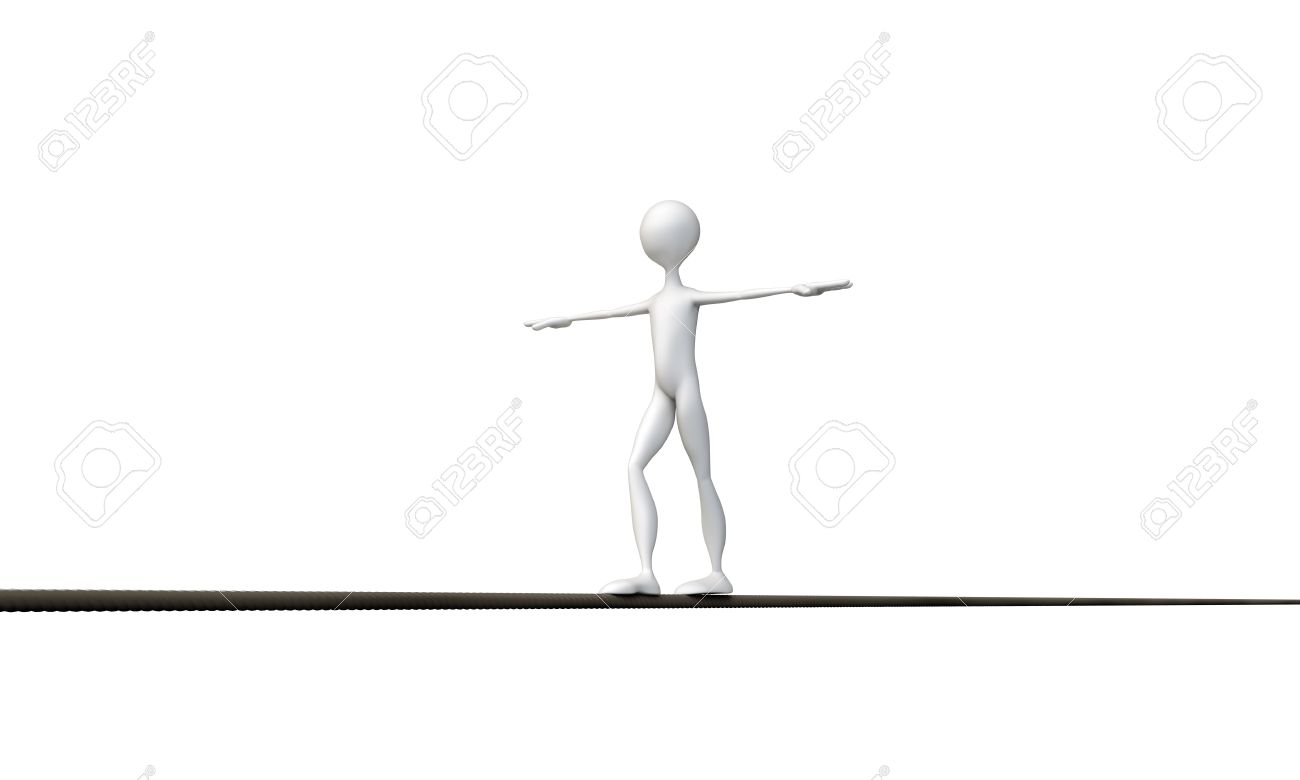 tightrope walker isolated on white background Stock Photo - 16601129