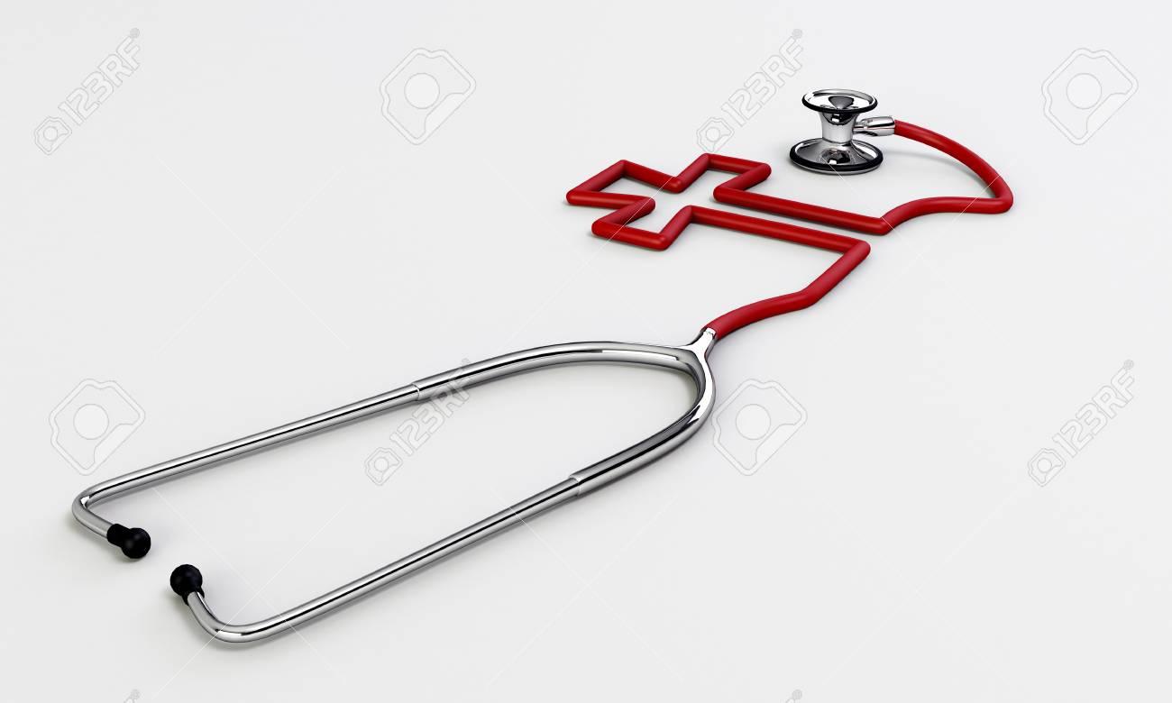 stethoscope medical tool isolated on white background Stock Photo - 16666631