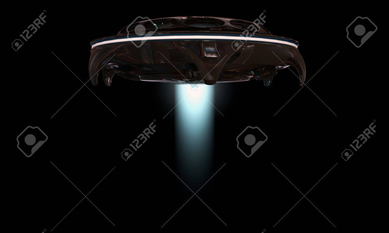 Ufo Spaceship Isolated On Black Background Stock Photo, Picture ... for Ufo Black Background  146hul