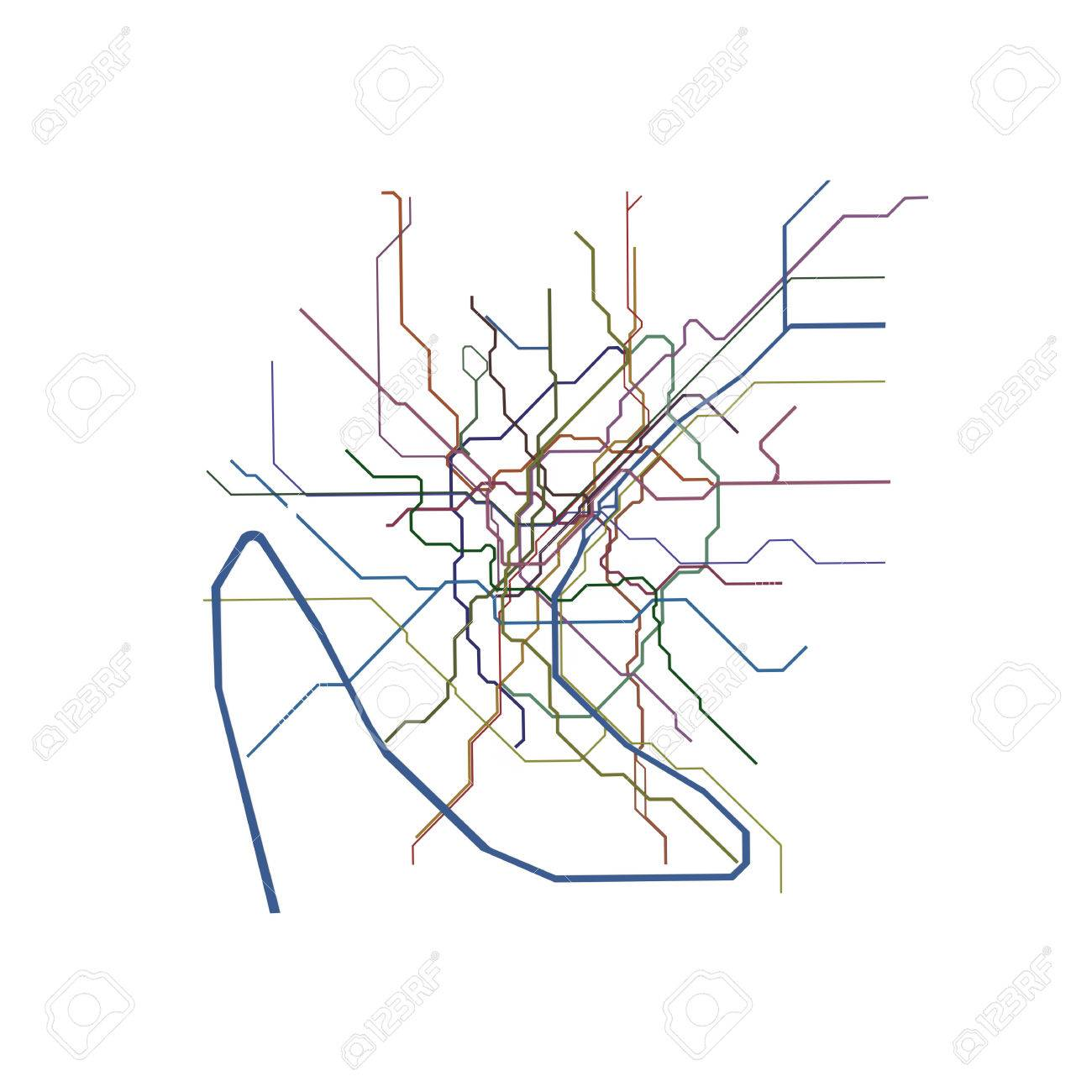 Paris Metro Map Isolated On White Background Stock Photo Picture