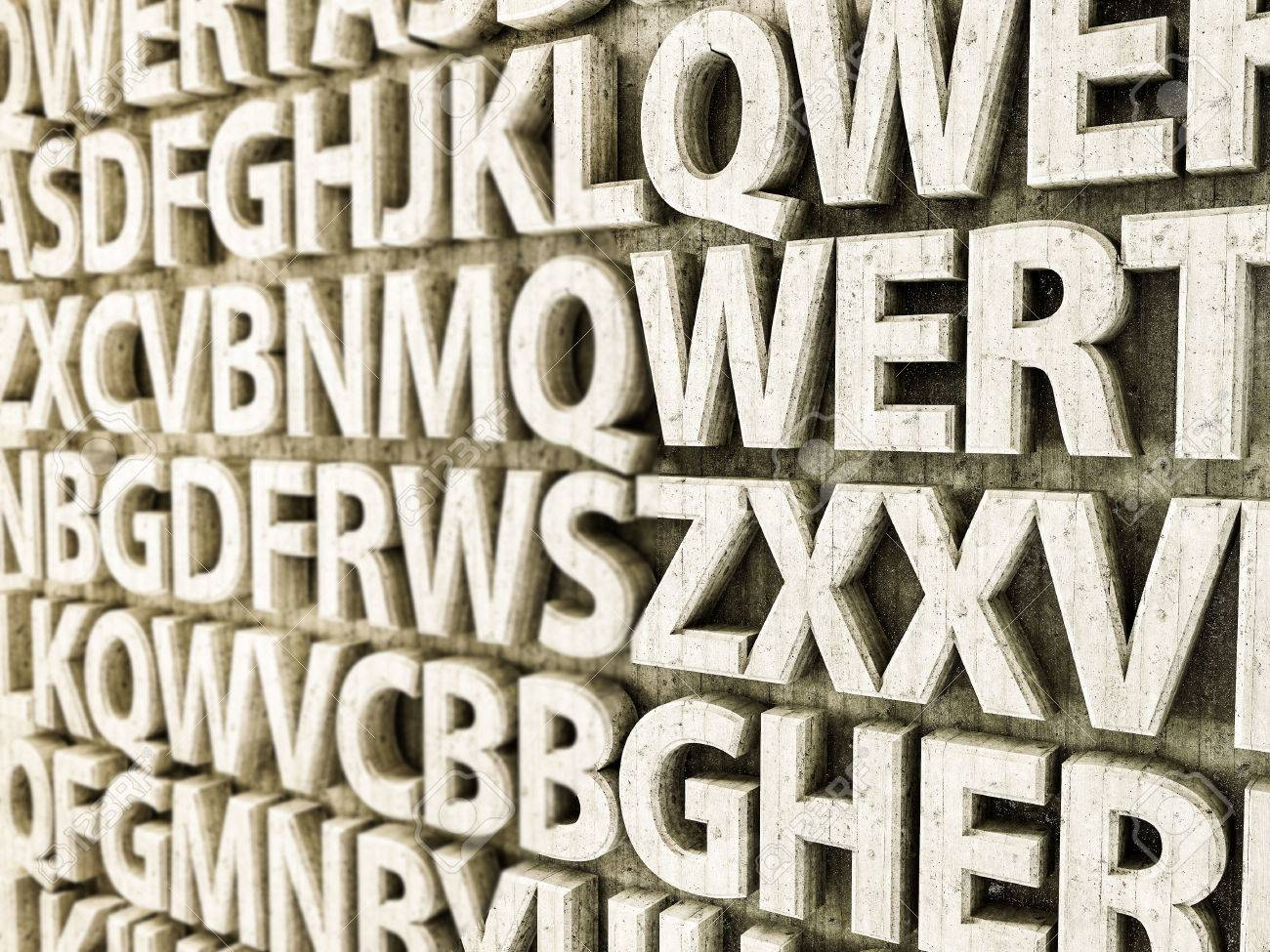 3d illustration of concrete letters on a wall Stock Photo - 73482196