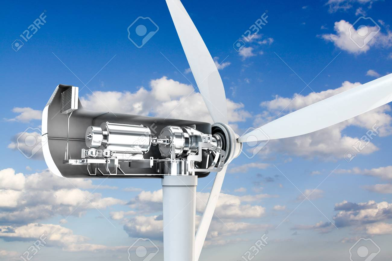3d illustration of a power turbine mechanical section - 80236049