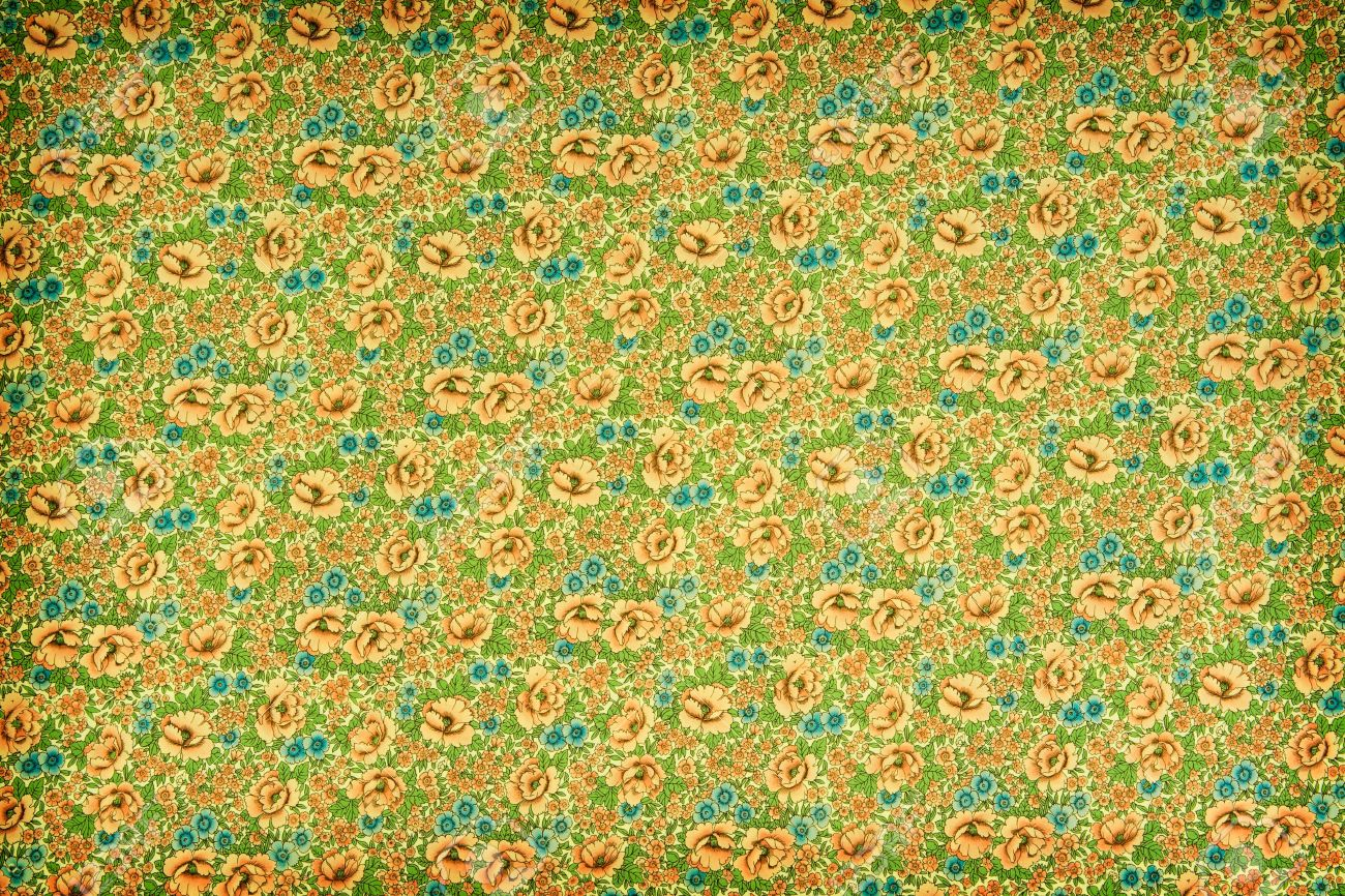 Green And Yellow Vintage Floral Wallpaper With A Dense Repeat Pattern Of Flowers Leaves Stock