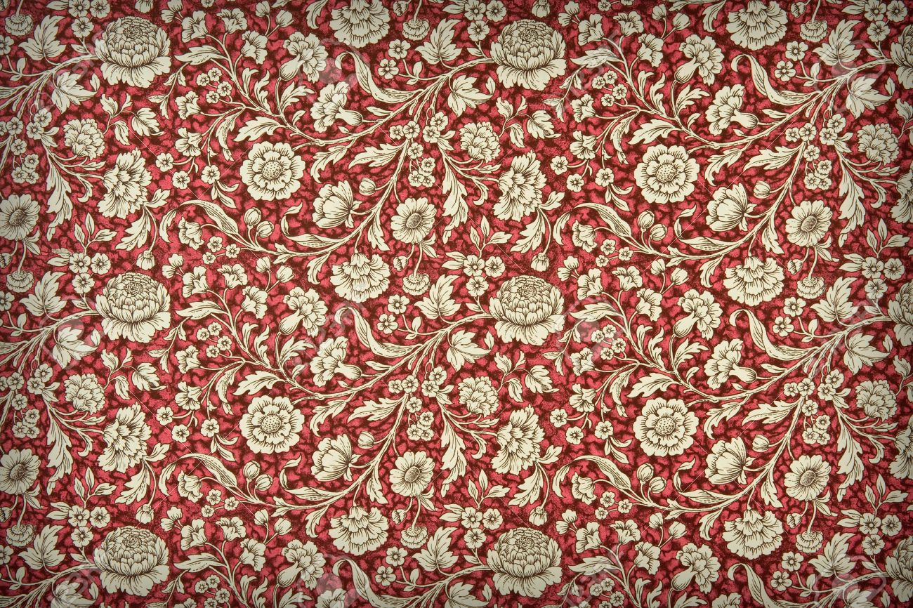 Artistic Background Of Red Vintage Floral Wallpaper With A Dense
