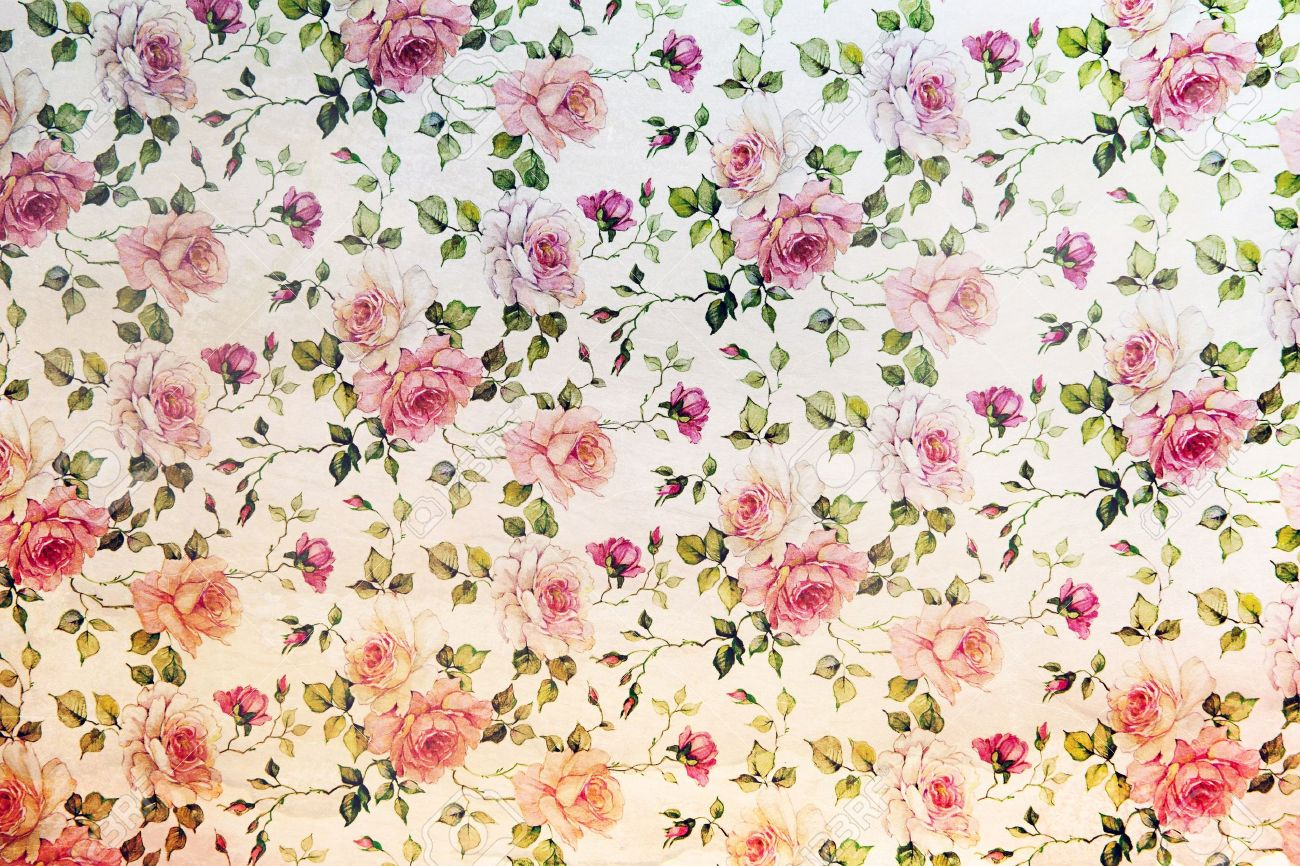 Vintage Pink Roses Wallpaper In A Repeat Background Pattern With