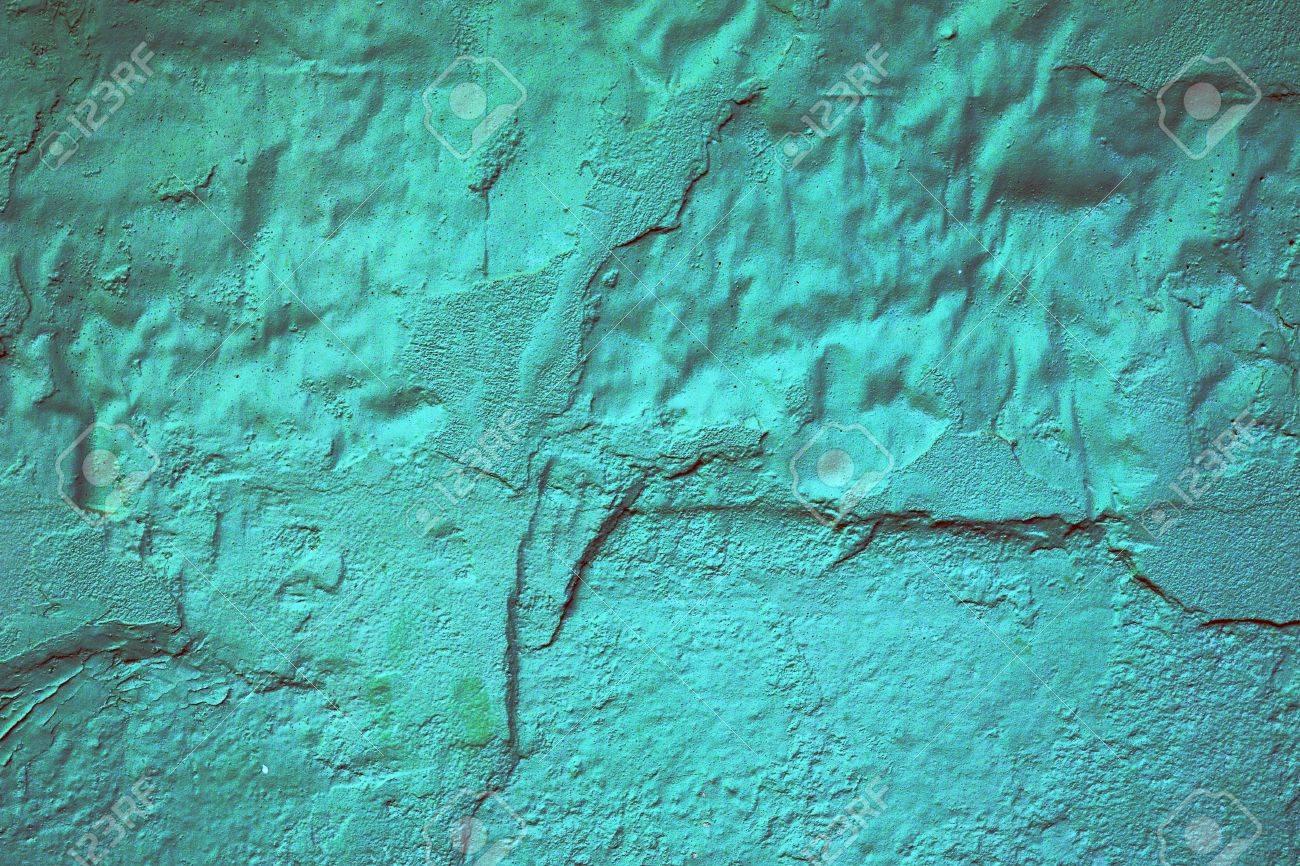 Abstract Hintergrund Textur Eines Beschadigten Lackiert Turkis Wand