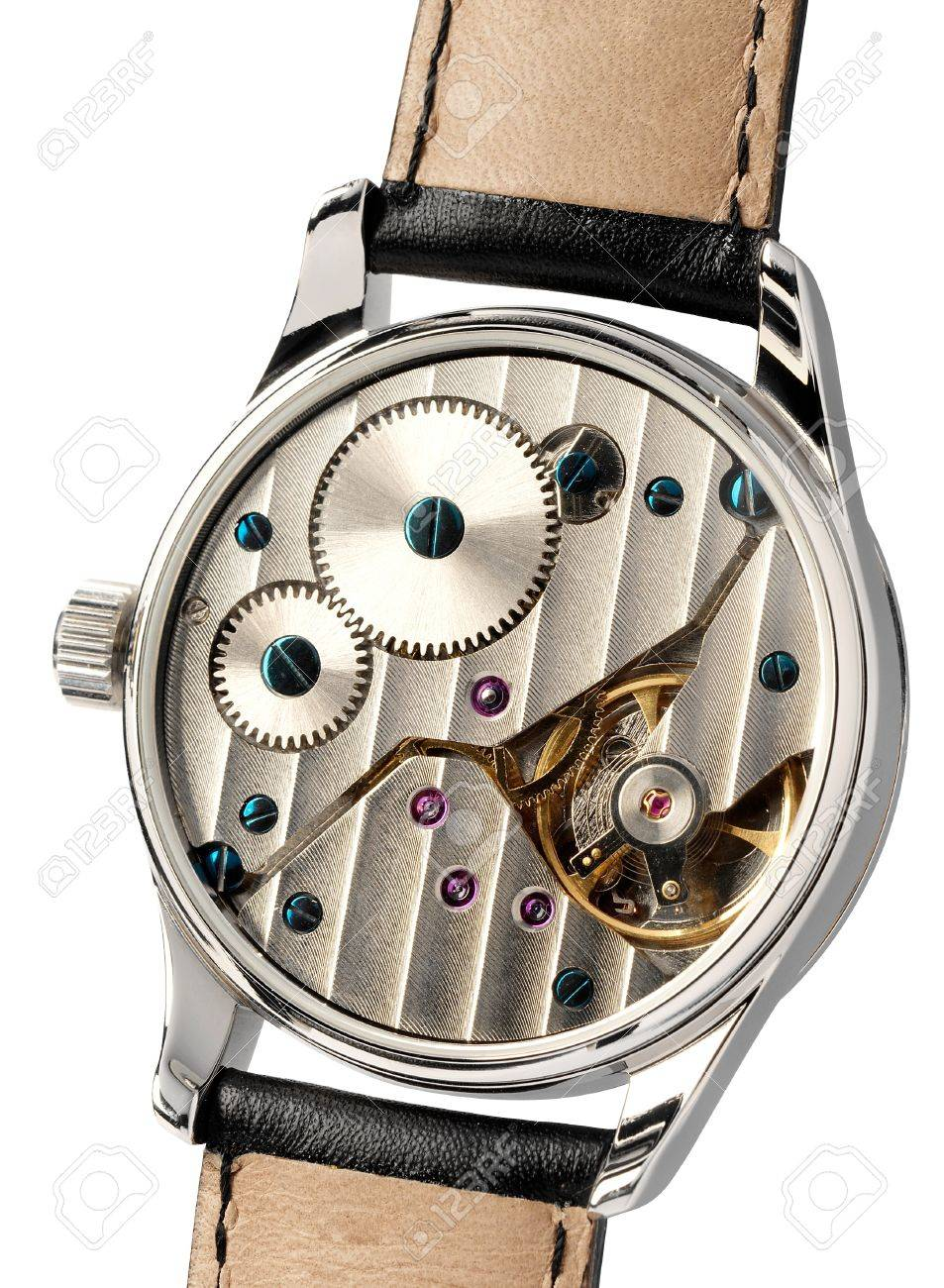 Cherche type de montre a mécanique apparente, mais pas skeleton 17893829-Wristwatch-with-the-back-cover-removed-displaying-the-mechanism-with-its-gears-and-escapement-isolat-Stock-Photo