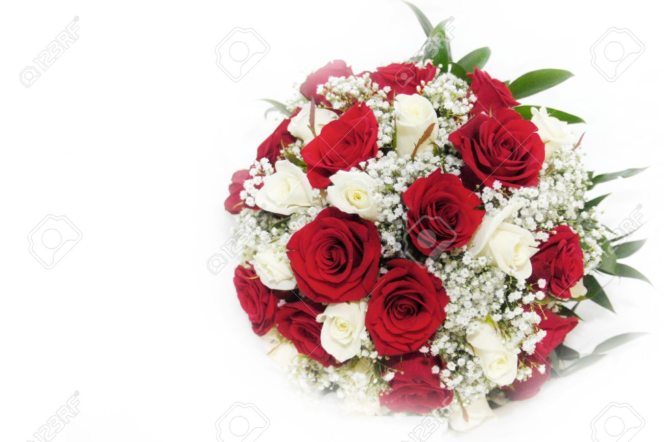 White And Red Roses Bouquet Beautiful red and white roses