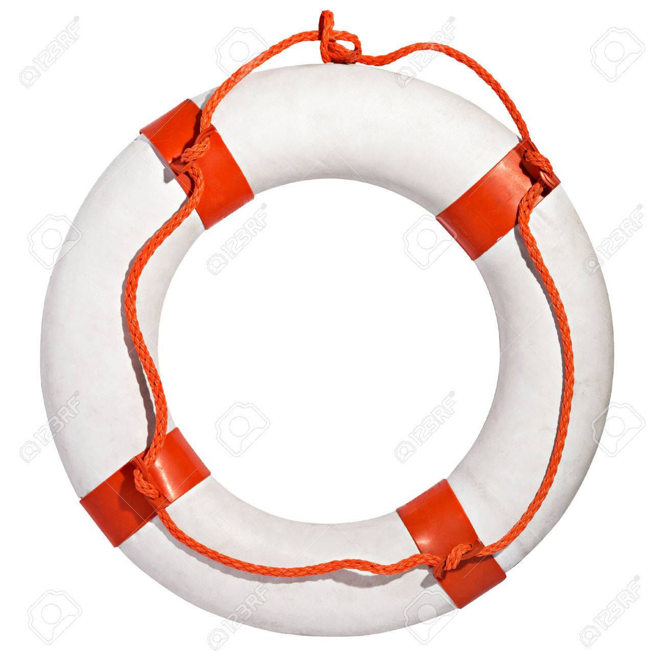 Clean white life ring, lifesaver or life preserver with red rope