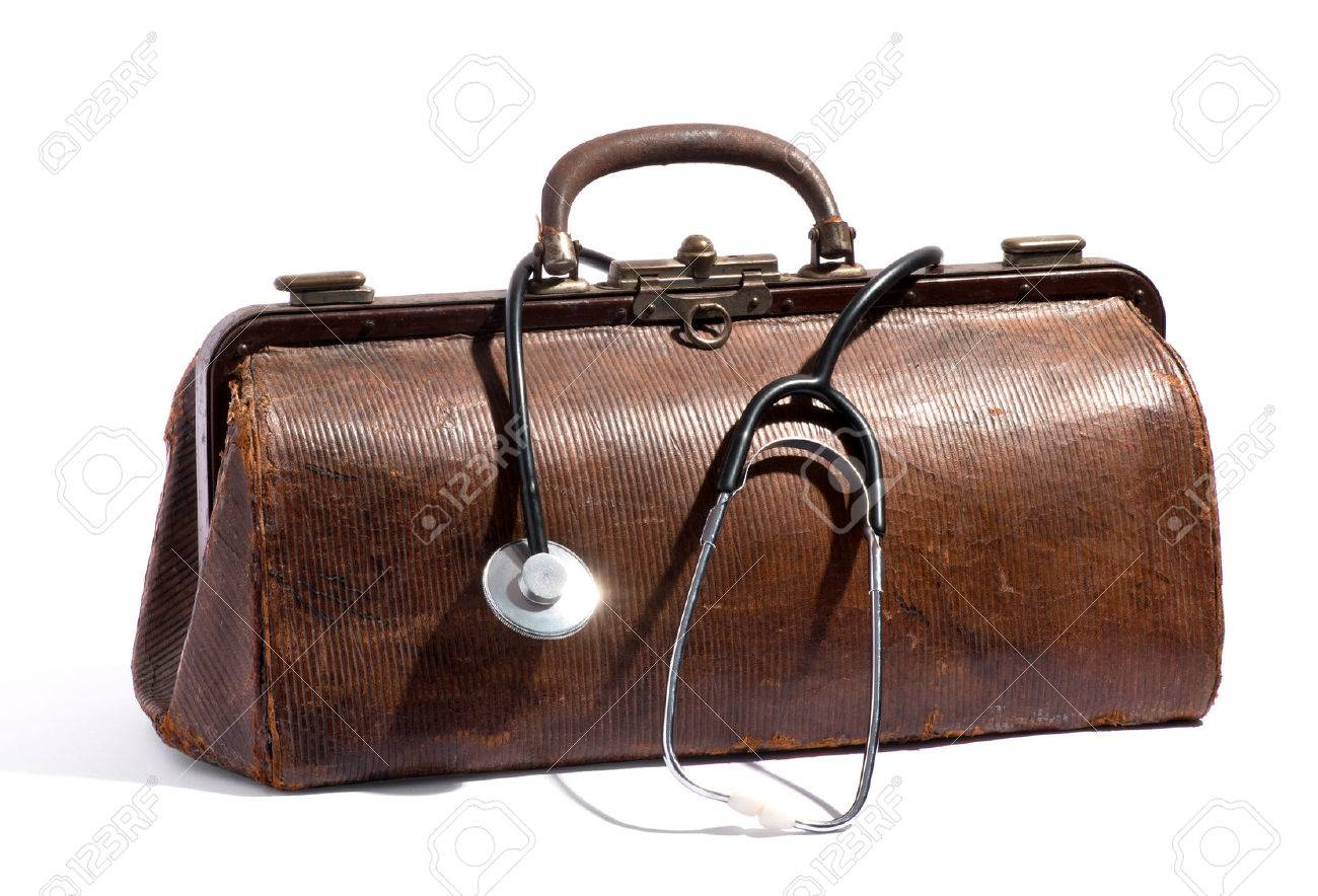 Old Brown Leather Doctors Bag With A Stethoscope Looped Around ...