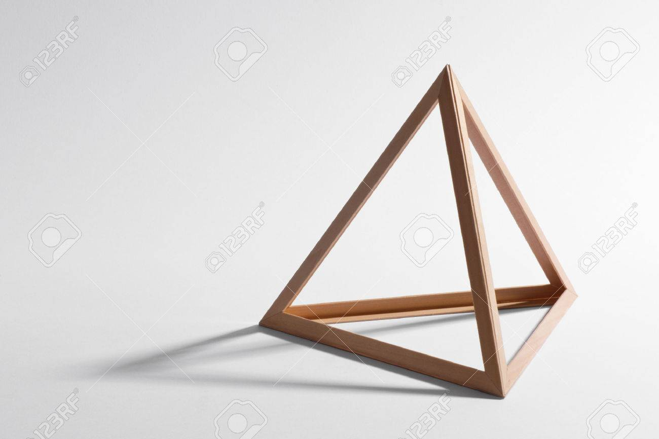 Open Empty Wooden Triangular Frame Or Pyramid Shape Forming A ...