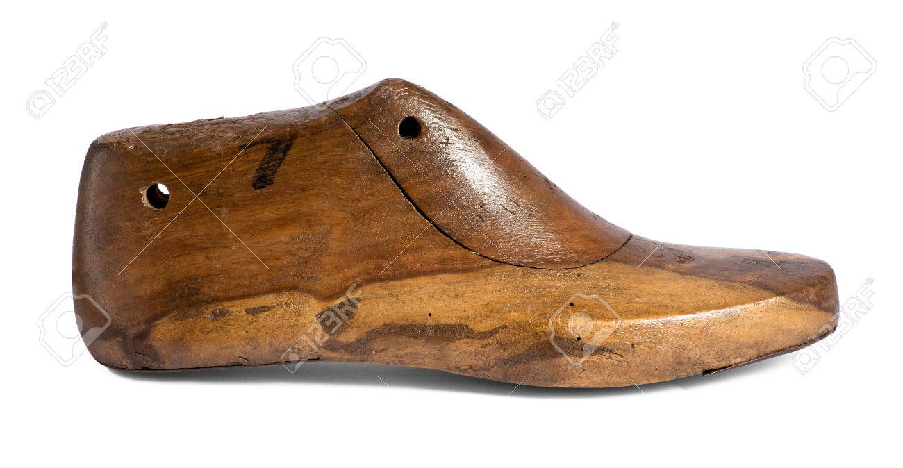 Side View Of A Vintage Wooden Shoe Form Used By Shoemakers As ...