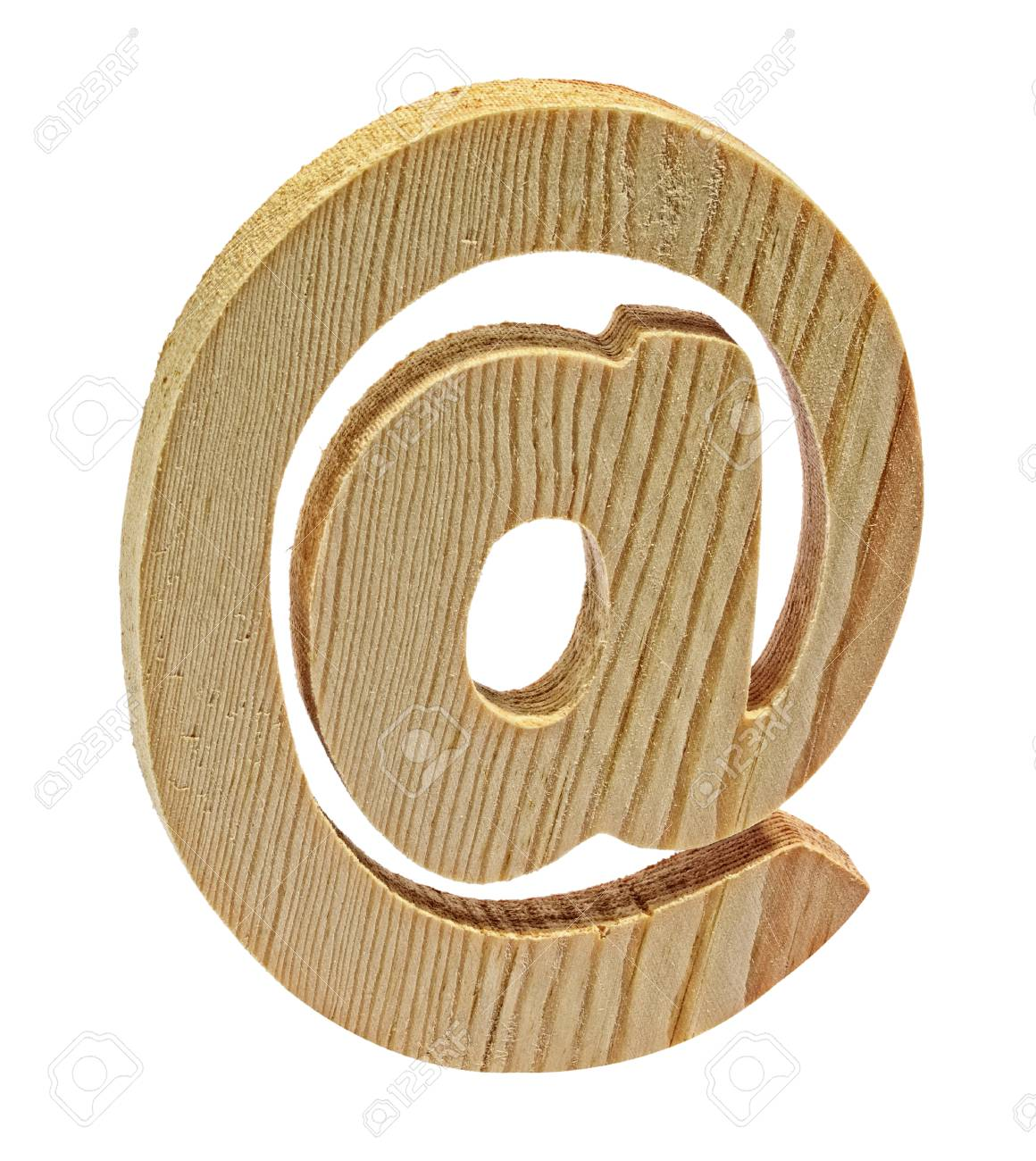 Still Life Of Wooden At Sign Symbol On White Background Stock Photo