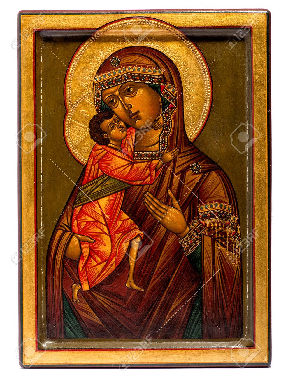 Hölzerne Gemalte Religiöse Christliche Ikone Der Jungfrau Maria Und ...