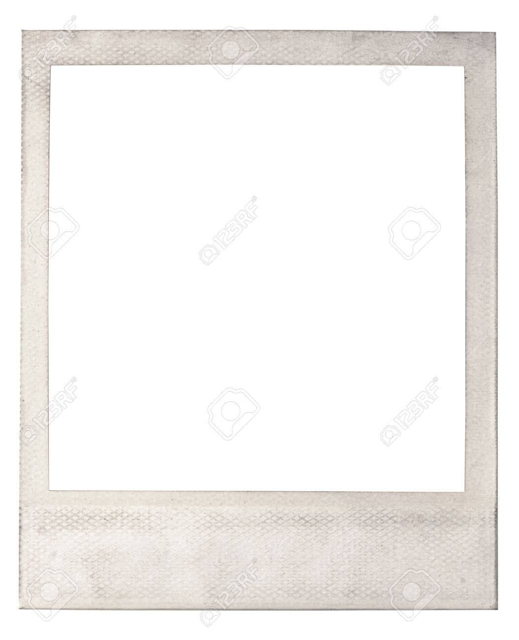 old blank instant photo frame with a light colored dirty discolored frame isolate on white with