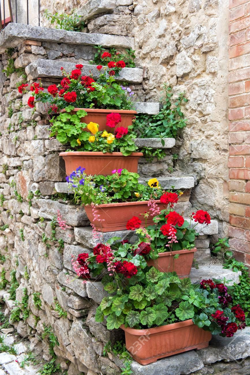 macetas de flores de colores que crecen en viejas escaleras de piedra exteriores fuera de una