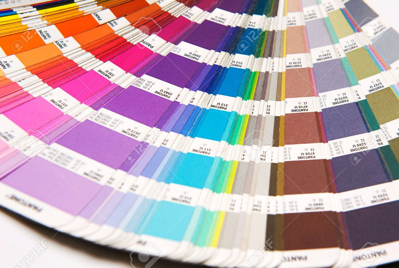 Opened Pantone Color Chart Fanned Out To Show The Spectrum Of Color