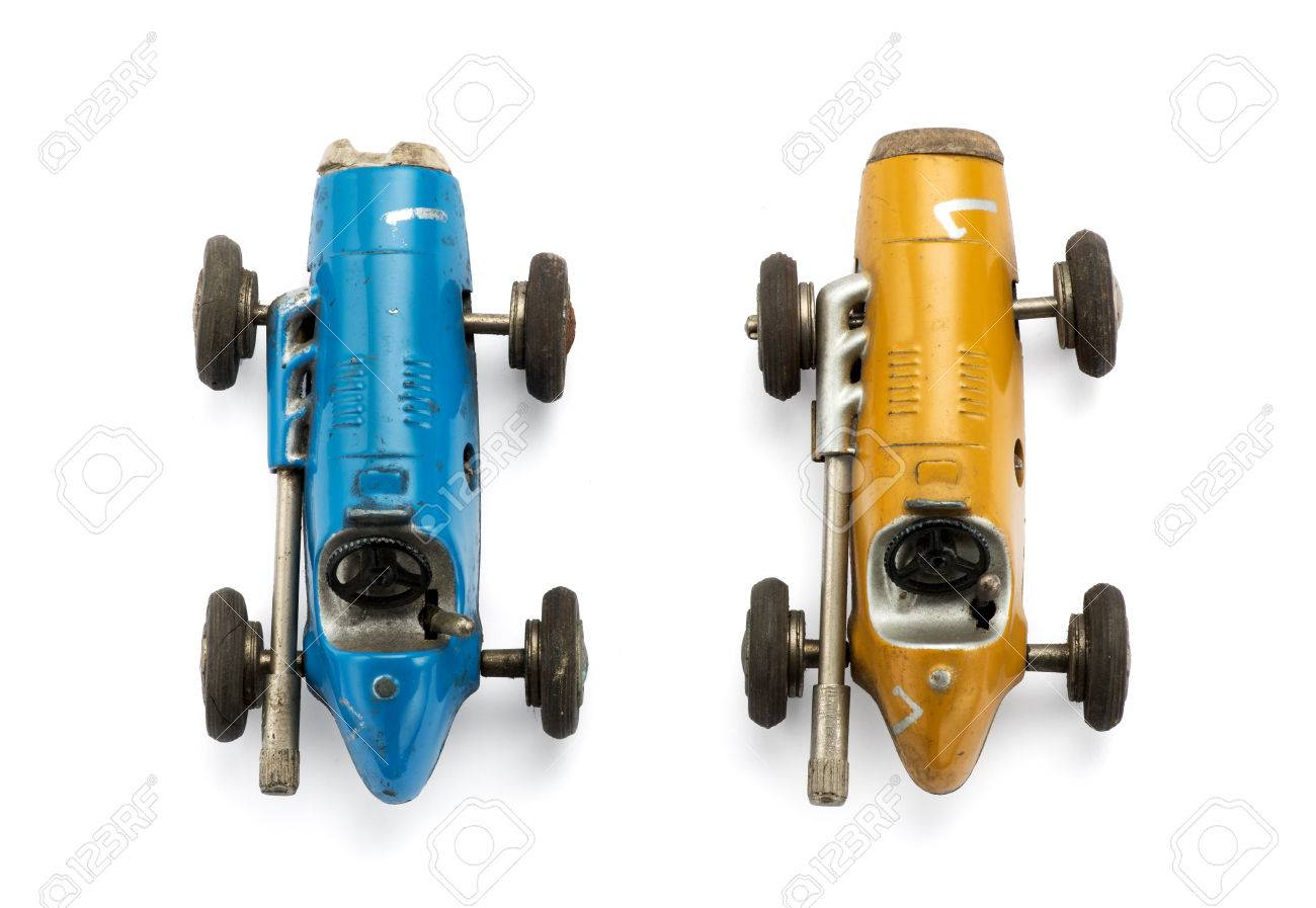View From The Top Of Two Model Vintage Toy Racing Cars Side By
