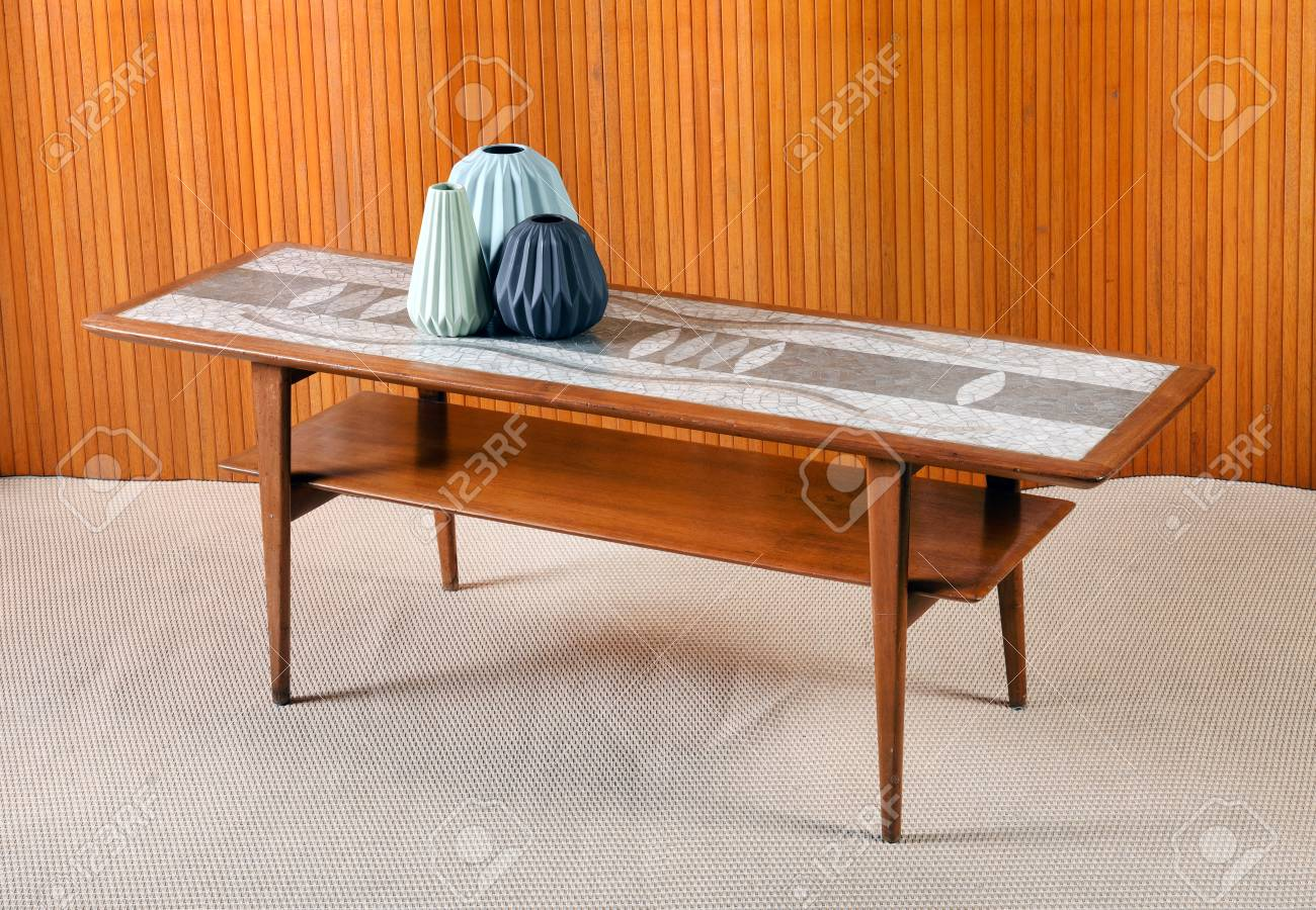 Furniture Still Life Of Antique Vintage Wooden Coffee Table With