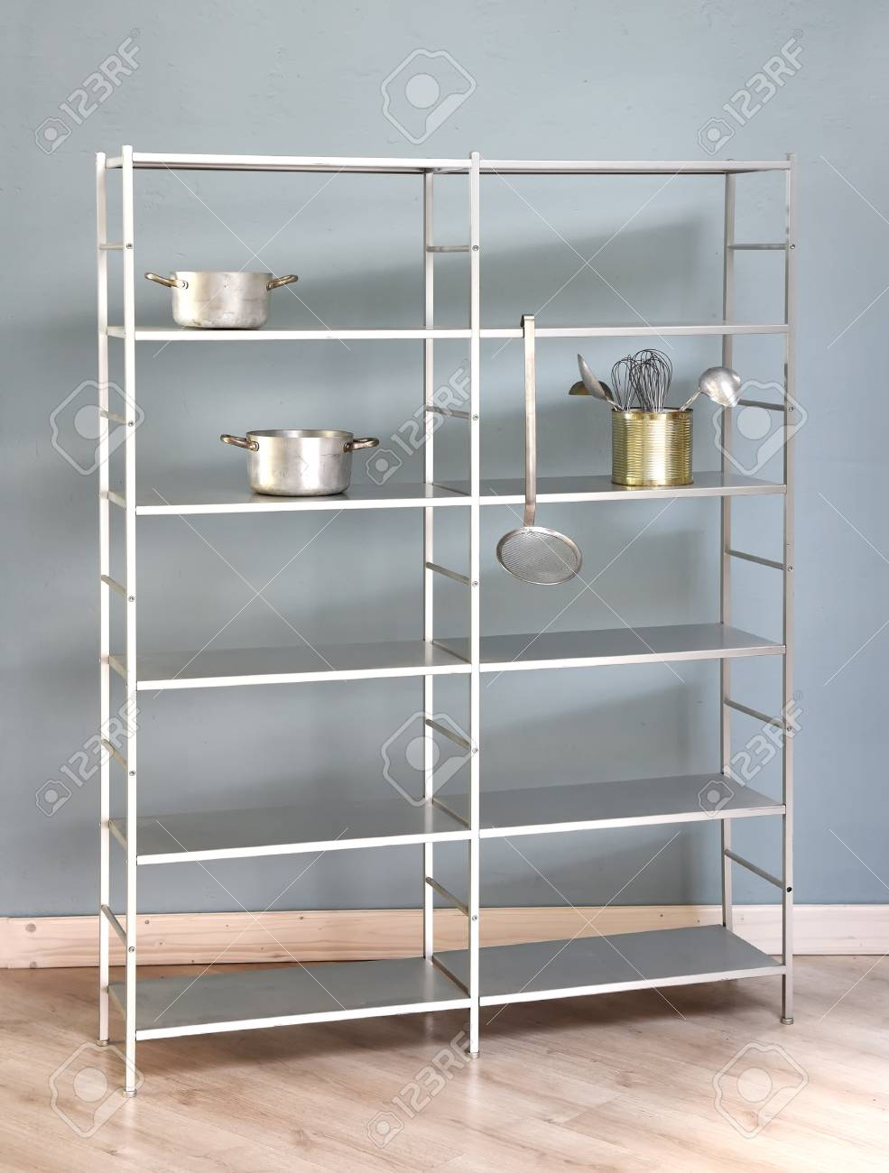 Simple Freestanding Kitchen Shelf With Metal Frame And Shelves