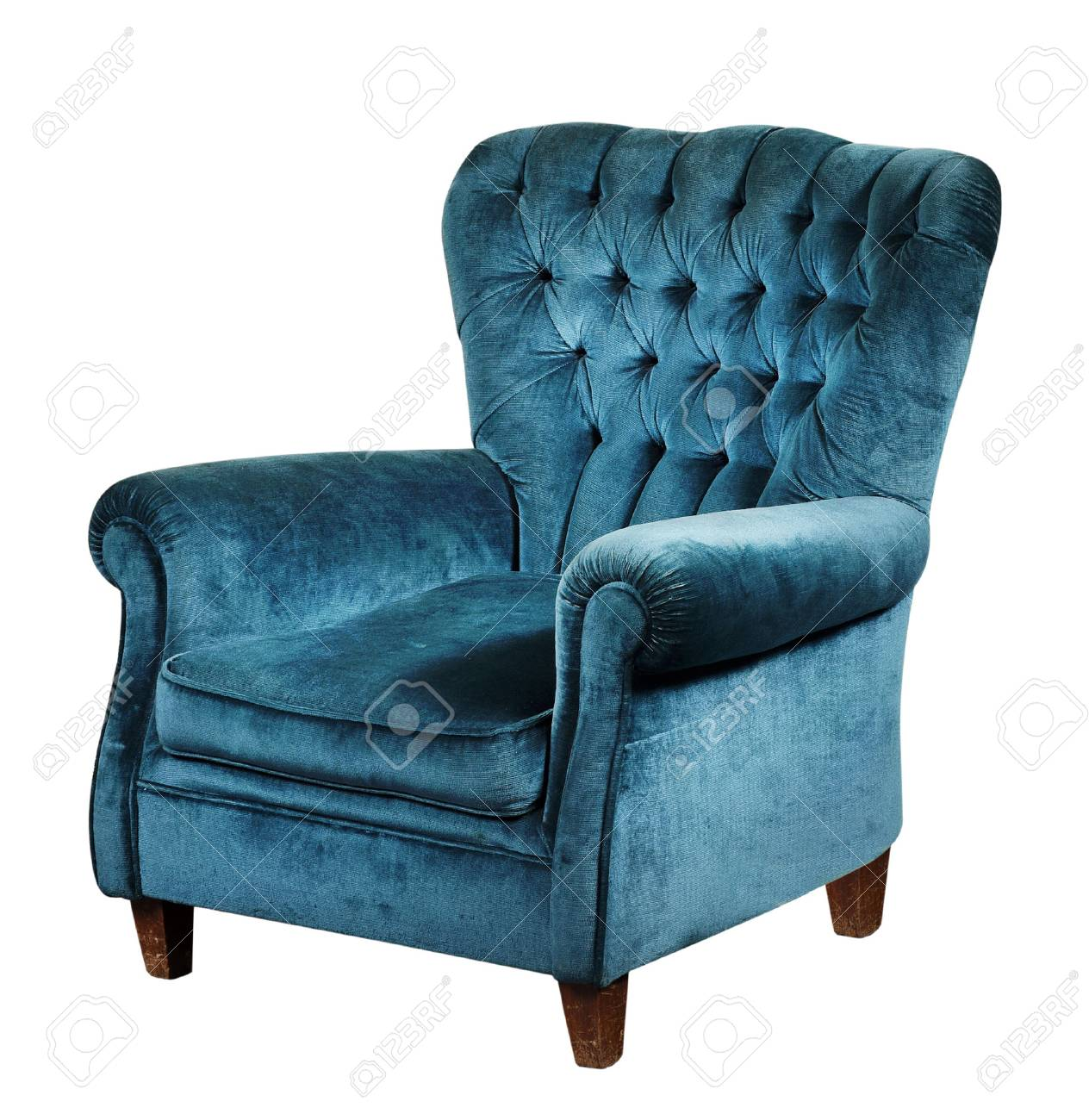 Blue Velvet Armchair With High Back And Short Wooden Legs, Isolated On  White Background Stock