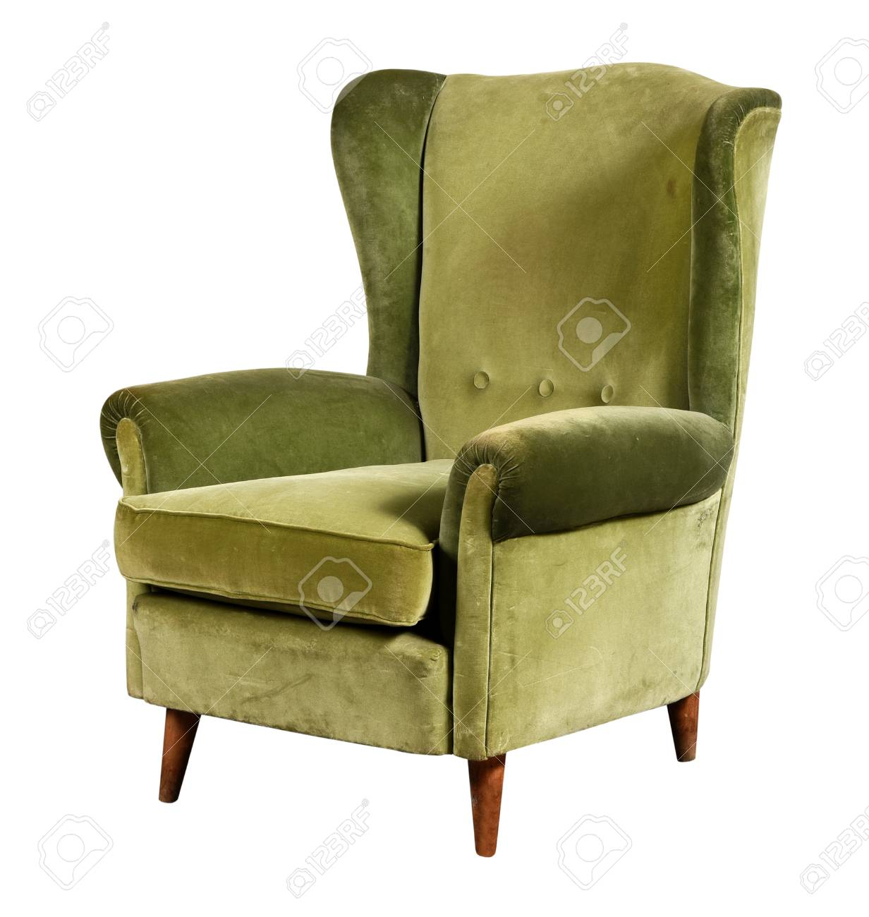 Green Velvet Armchair Of Old Design On Short Legs With High Back Isolated  On White Background