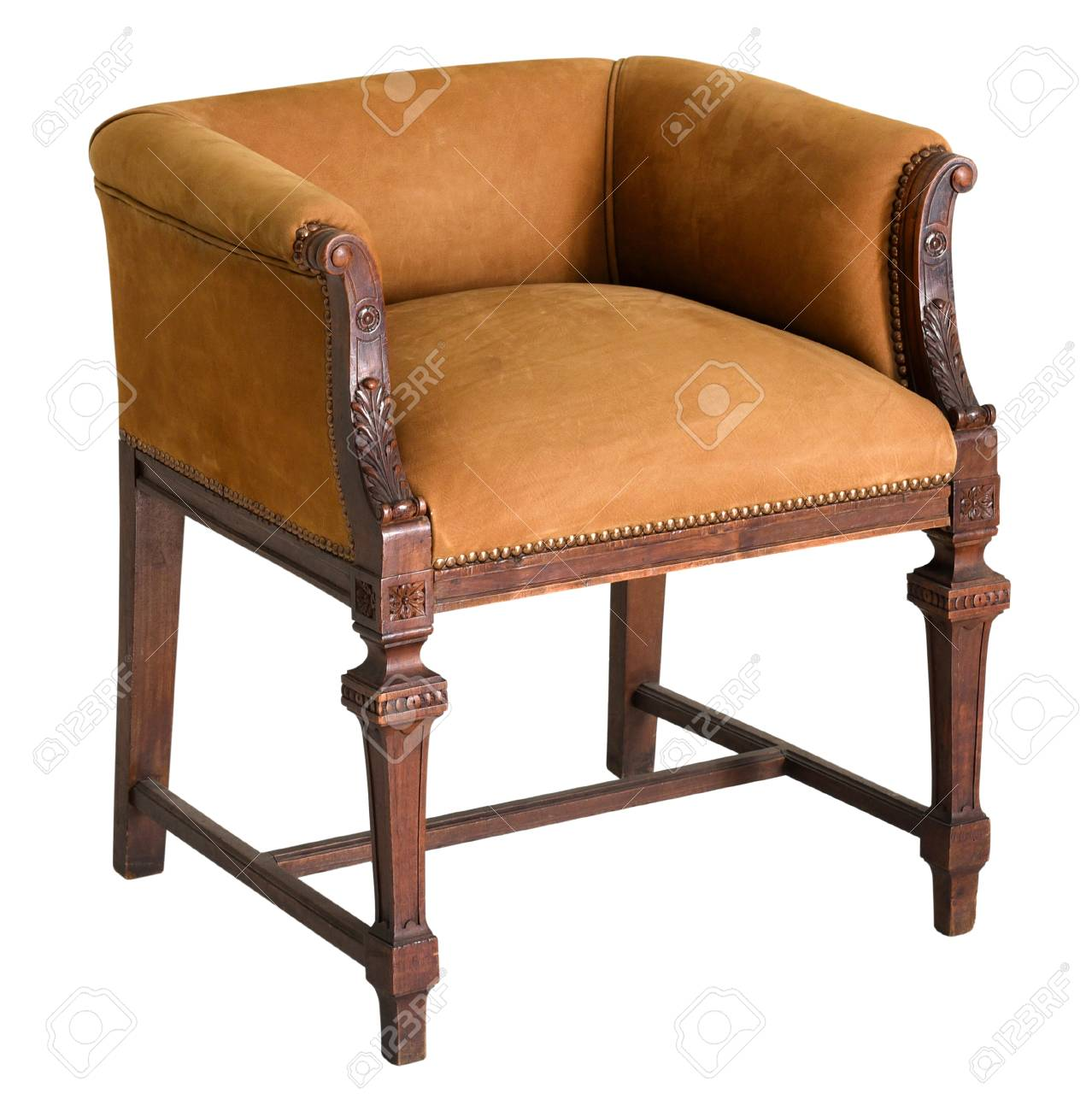Merveilleux Stock Photo   Vintage Wooden Chair With Brown Velvet Seat And Short Back On  High Lacquered Legs Isolated On White Background