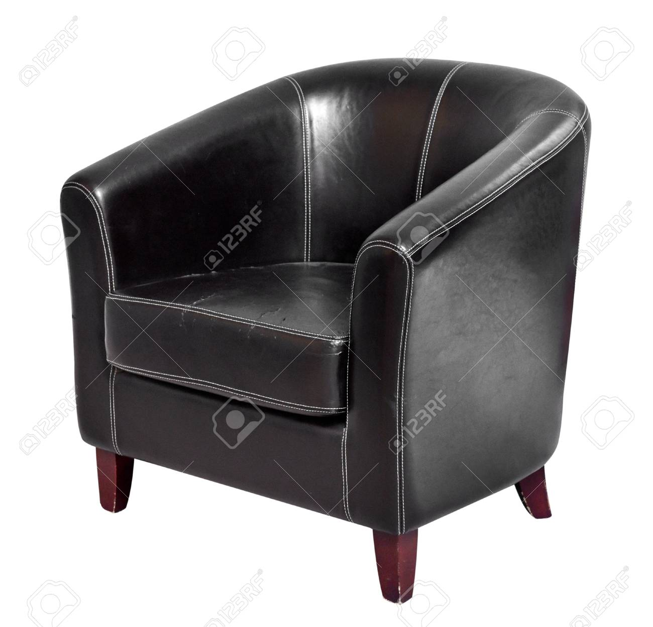 Charmant Black Leather Armchair With Round Back And Short Wooden Legs Isolated On  White Background Stock Photo