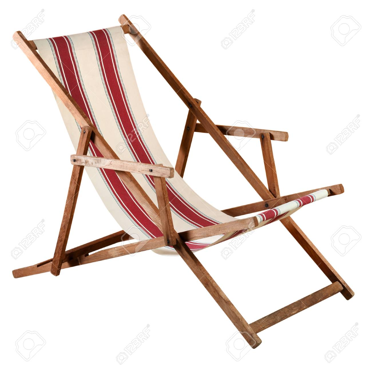 Folding Wooden Deckchair Or Beach Chair With Striped Red And