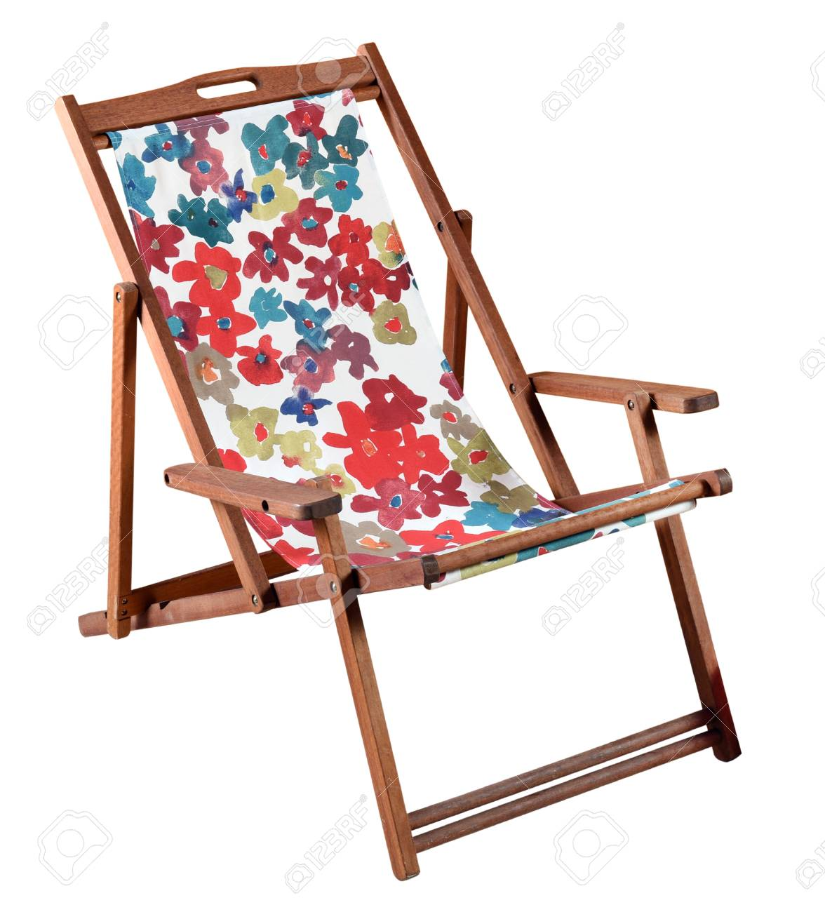Phenomenal Colorful Folding Wooden Beach With A Bold Patterned Canvas Seat Ncnpc Chair Design For Home Ncnpcorg