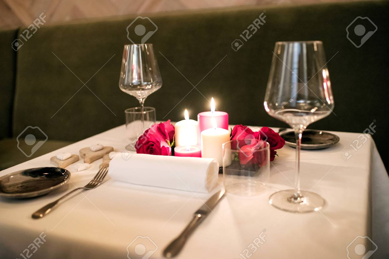 Intimate Romantic Table Setting By Candlelight For Two With A Centrepiece Of Burning Candles And Red & Romantic Table Setting For Two u0026 A Romantic Dinner For Two Table ...