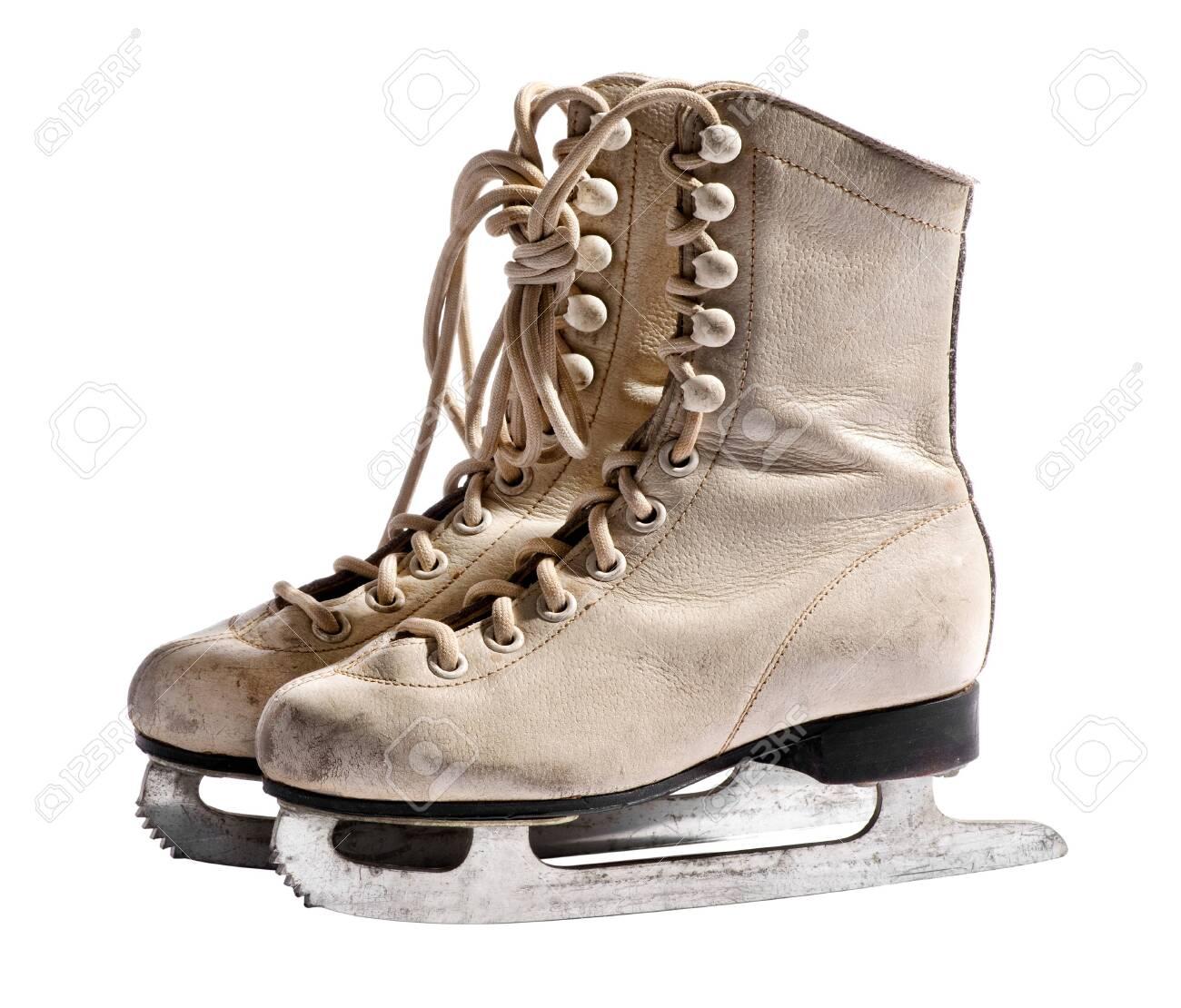 94da6e8973119 Old used white leather ice skates isolated on white background