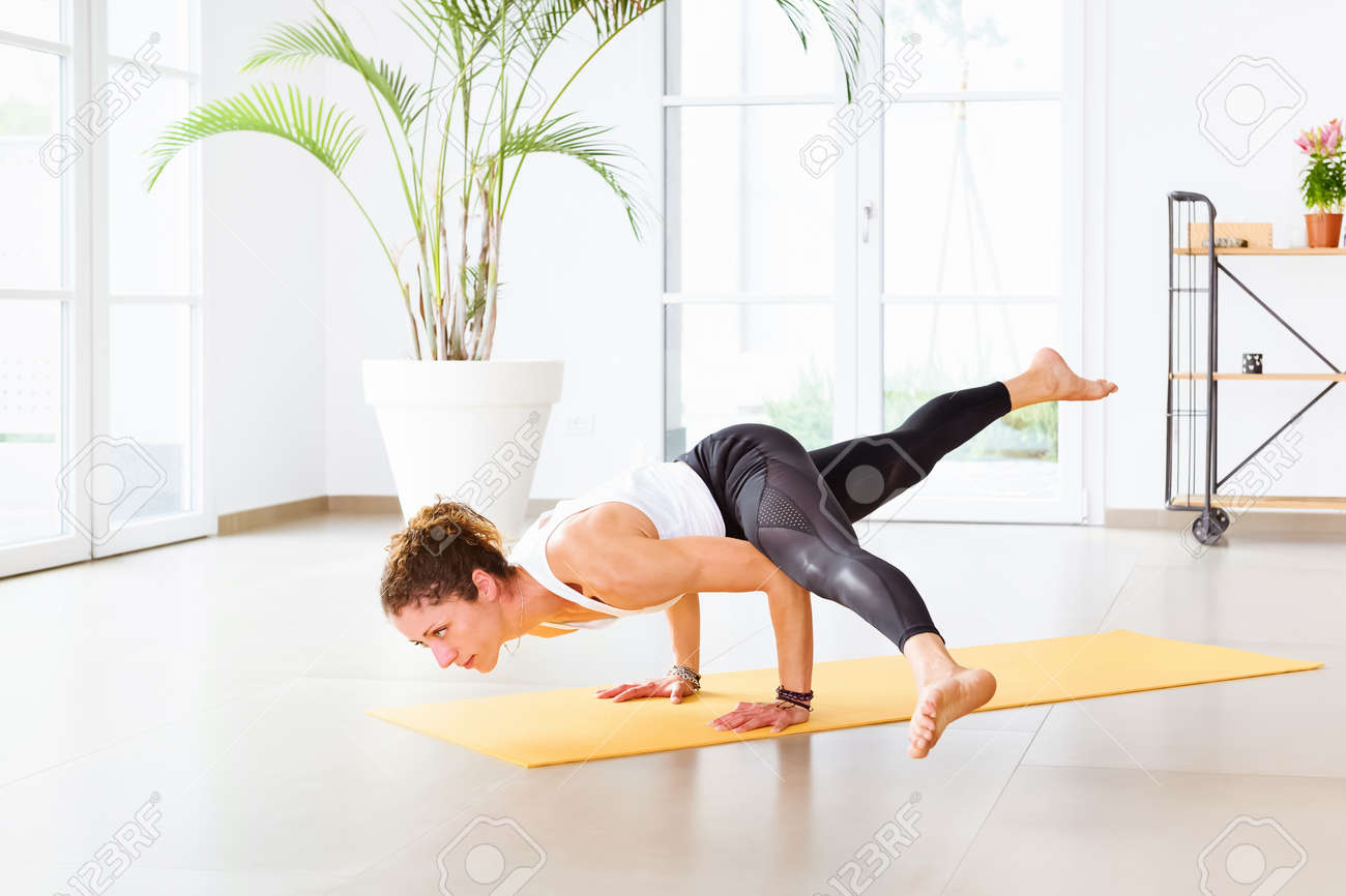 Koundinyasana Yoga Pose Or Flying Splits Arm Balance Pose Being ...