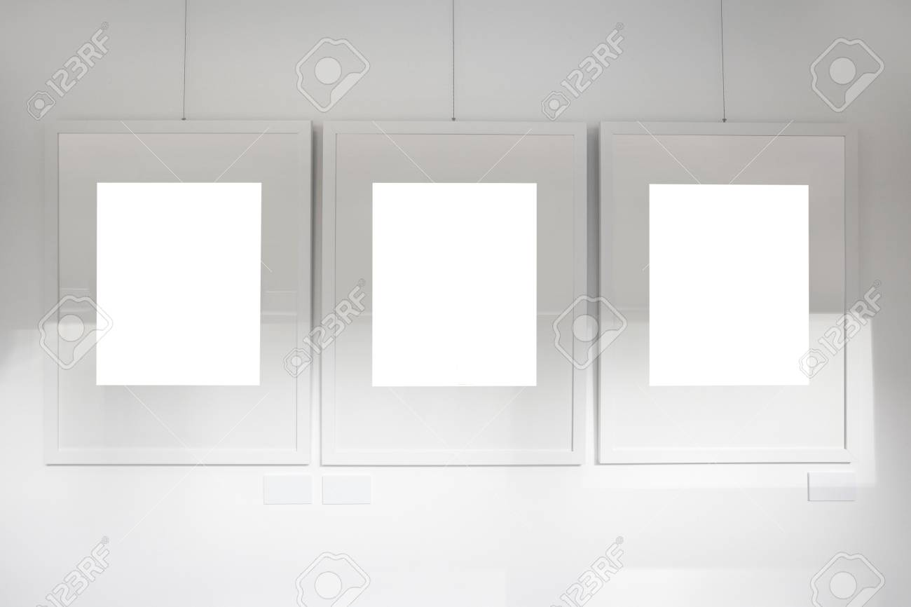 Blank frames on white wall Stock Photo - 10775769