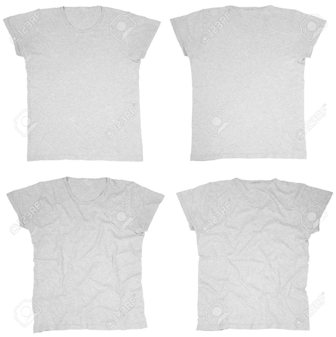 Blank grey t-shirts front and back Stock Photo - 11370483