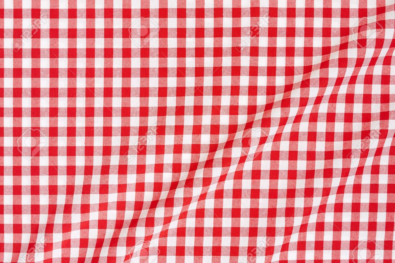Delightful Red And White Gingham Tablecloth Background Stock Photo   20200325