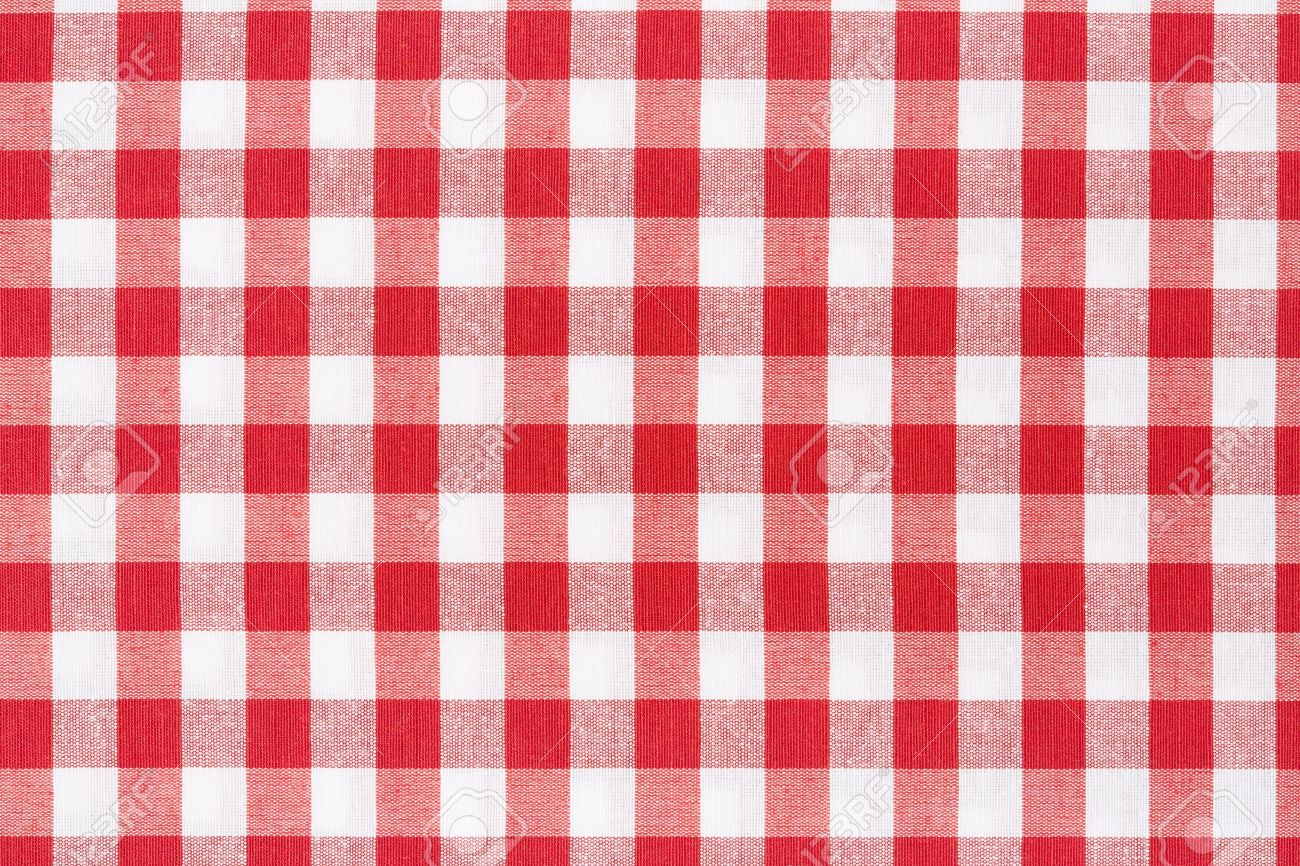 Red And White Gingham Tablecloth Texture Background Stock Photo   21529470